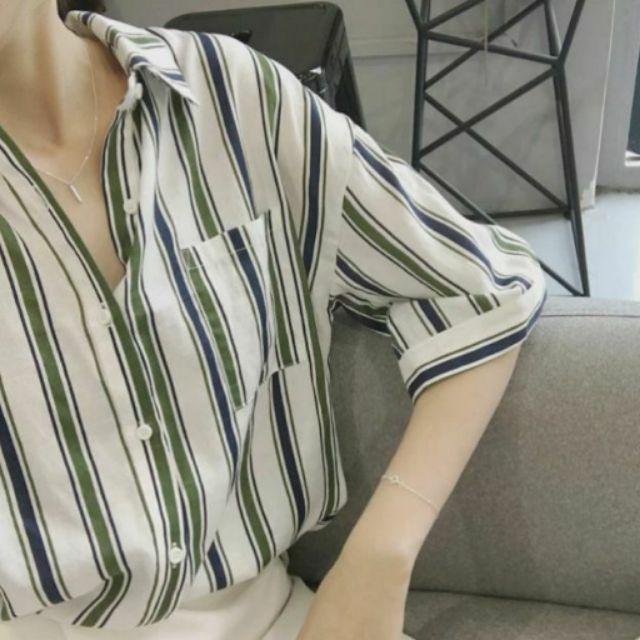 不敗學院風撞色配色雙色五分袖口袋直紋條紋挺版棉麻襯衫