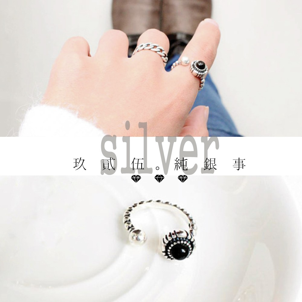 玖貳伍 925 純銀黑瑪瑙白珍珠復古銀珠開口戒指