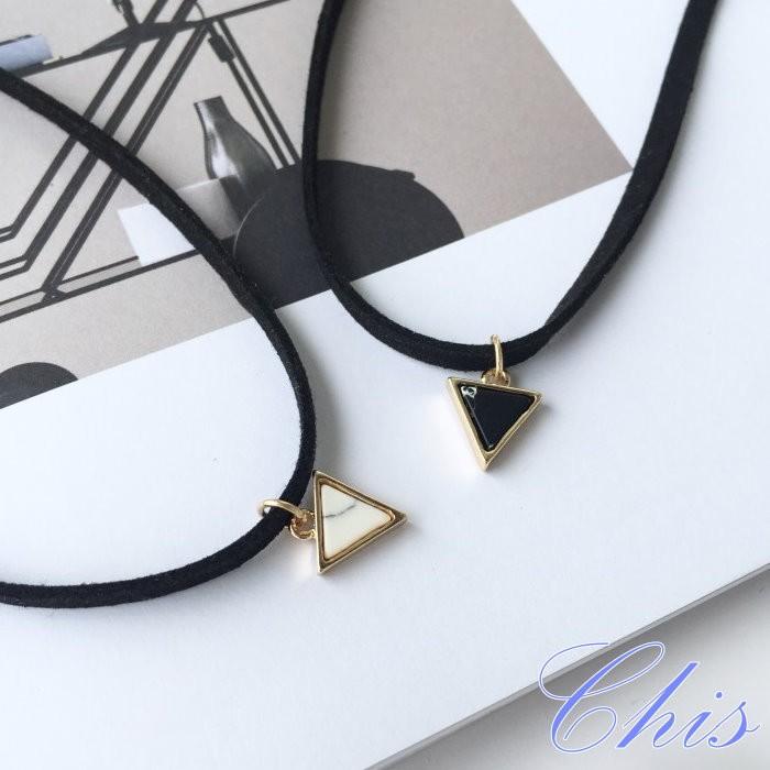 Chis Store ~黑白三角石頭頸鍊~韓國自然系簡約極簡天然幾何松石頸圈項圈短項鍊鎖骨