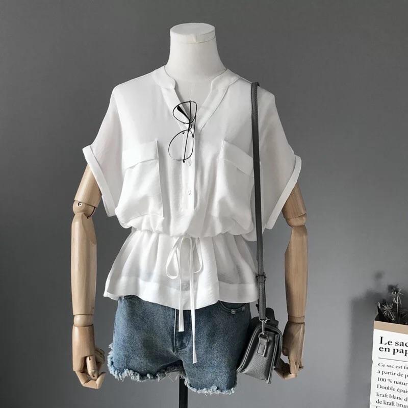 束腰雙口袋襯衫小資女孩上班族 簡約風