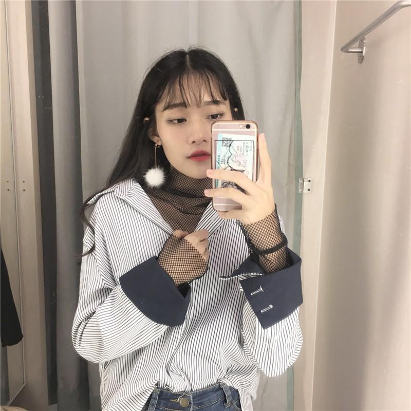 韓國撞色袖口襯衫+內搭網格可拆賣實拍