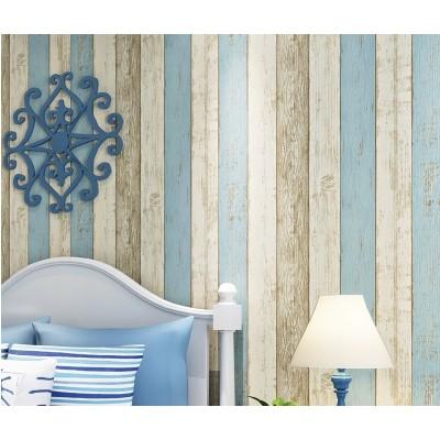無紡布牆紙地中海風格懷舊木紋壁紙客廳臥室電視復古豎條紋牆紙