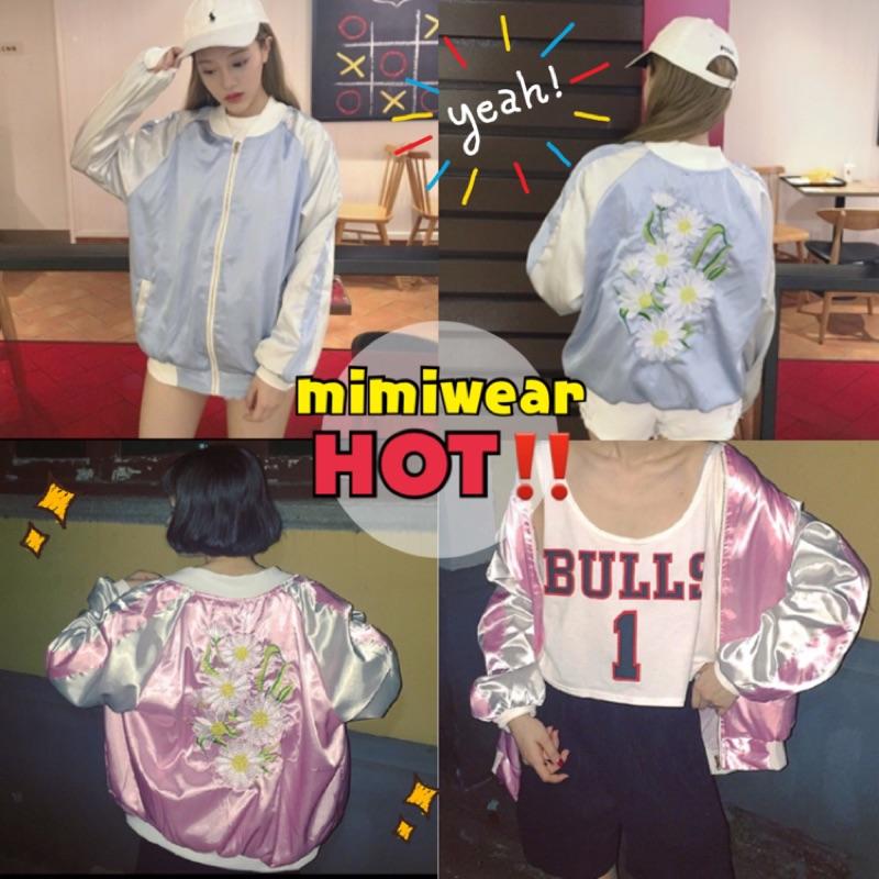 (橫須賀)刺繡棒球外套夾克飛行外套繡花外套玫瑰刺繡花MA1 日系撞色外套潮流緞面棒球服
