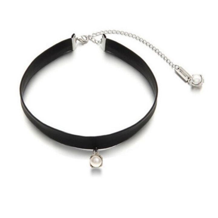 Chis Store ~IU 同款 頸鍊~韓劇製作人的那些事皮革皮質短款項鍊短版珍珠項鍊項