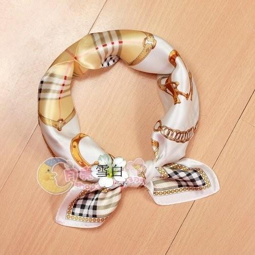 水之舞SF052052597 100 真絲斜紋綢緞面小方巾環扣絲巾圍巾披肩方巾頭巾領巾