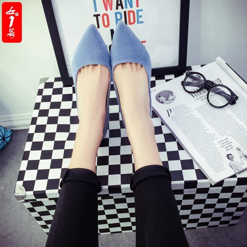 四季OL 尖頭藍色高跟鞋女細跟淺口鞋中跟防水臺女鞋磨砂單鞋潮
