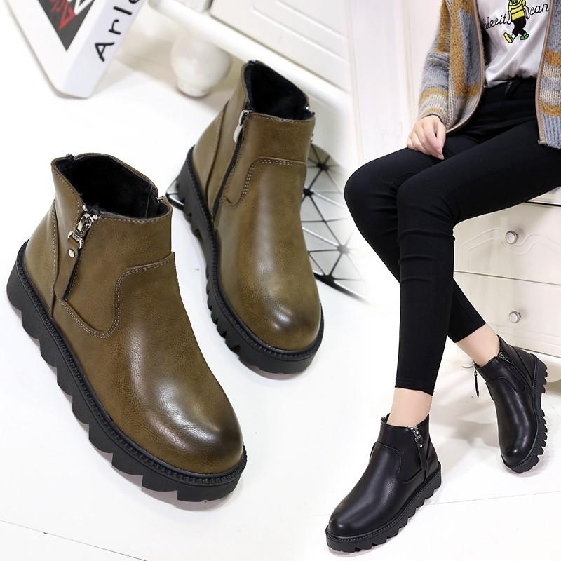 【懷舊小舖】馬丁靴女英倫風粗跟短靴加絨女鞋學生短筒平底女靴平跟靴子側拉鏈