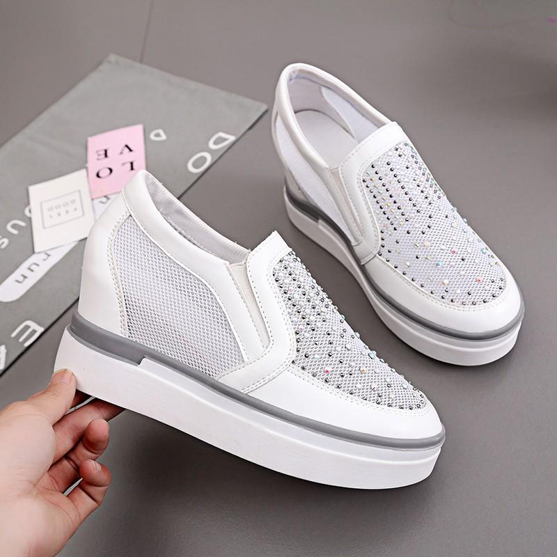 春夏蕾絲網面單鞋真皮坡跟鏤空透氣內增高女鞋休閒平跟水鑽網紗鞋