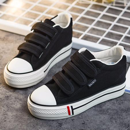 ~K319 黑35 40 ~ 魔術貼魔鬼氈低筒低統內增高帆布鞋女鞋厚底鬆糕休閒鞋