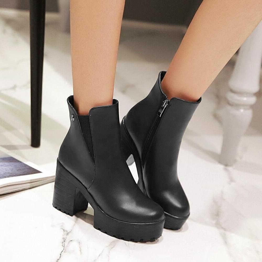 有大碼英倫風簡約粗跟馬丁靴高跟圓頭側拉鍊短筒厚底短靴黑淺棕深棕