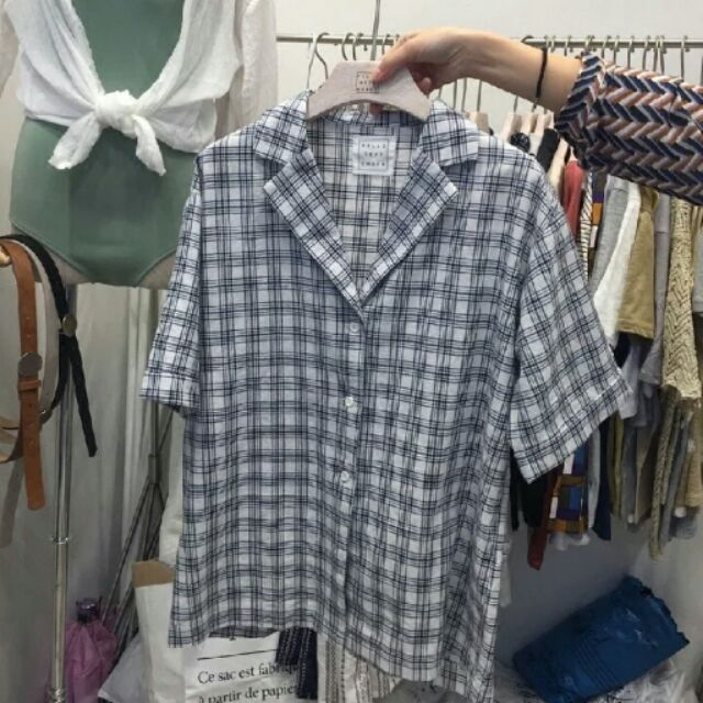 hello september 有 韓國訂單東大門翻領短袖復古格子襯衫