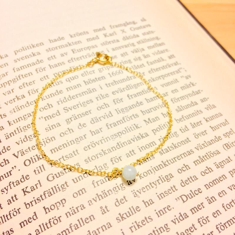 ~Fabie 菲比~幸運藍天然寶石海藍寶金色手鍊手環(可改長短)