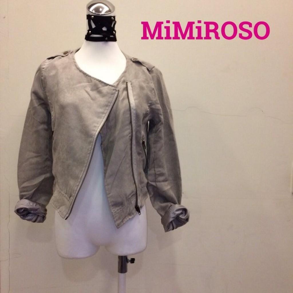 MIMIROSO ♣161 杏灰色仿麂皮絨騎士外套薄款夾克 韓女裝搖滾淺色森林系上衣合身西