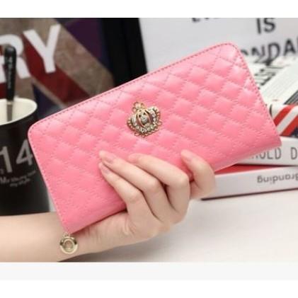 買一送一送卡套零錢包耳機包鏡子 粉色皇冠格菱長夾小香風 菱格 多 女皮夾長夾手拿包零錢包甜