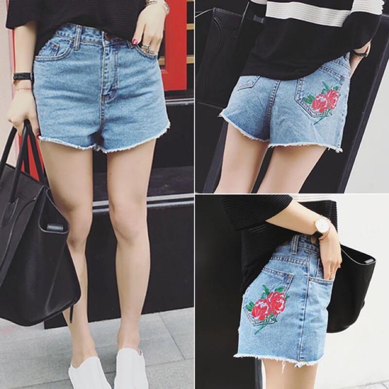 玫瑰花朵刺繡高腰牛仔短熱褲短褲