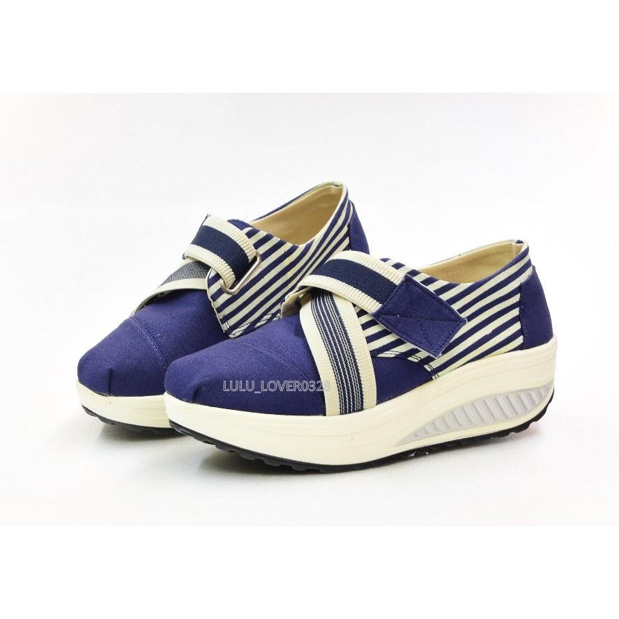 百分百SHOES 厚底輕量帆布透氣休閒搖擺鞋增高鞋厚底4 公分自黏魔鬼氈東X 也有賣599