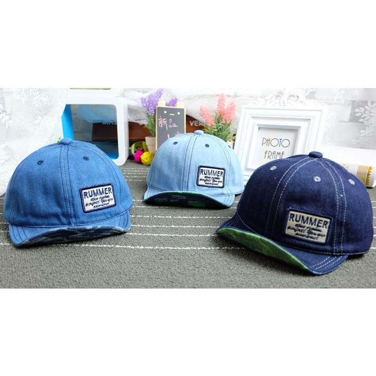 Momo House 韓國牛仔貼補迷彩帽翻檐帽兒童帽子寶寶鴨舌帽寶寶遮陽帽