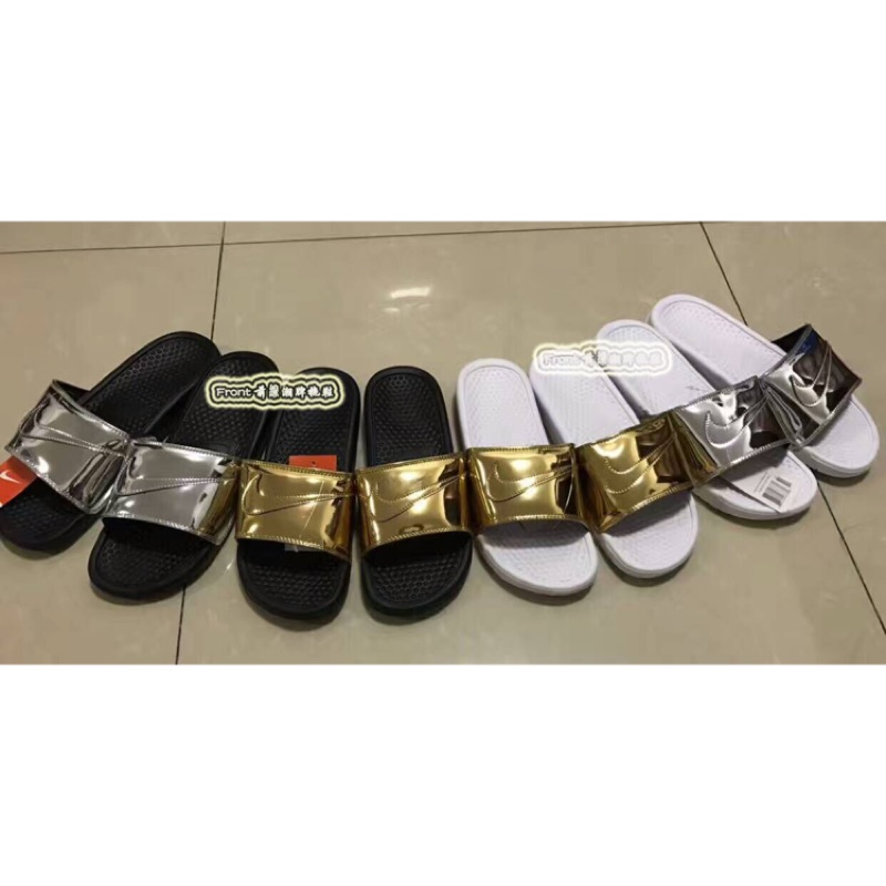 Nike Benassi Solarsoft Slide SP 液態金屬金銀配色nike