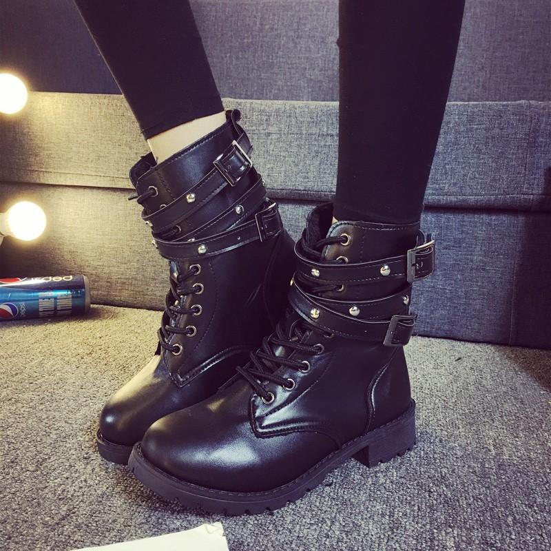 35 42 碼鉚釘靴朋克短靴 機車靴子厚底馬丁靴羅馬鉚釘大碼女鞋粗跟馬丁靴英倫風機車靴子復