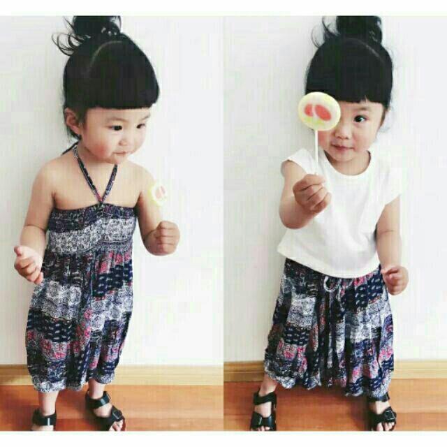 80 一套女童寶寶碎花飛鼠褲綁帶兩穿連體褲平口綁帶洋裝親子裝母女裝
