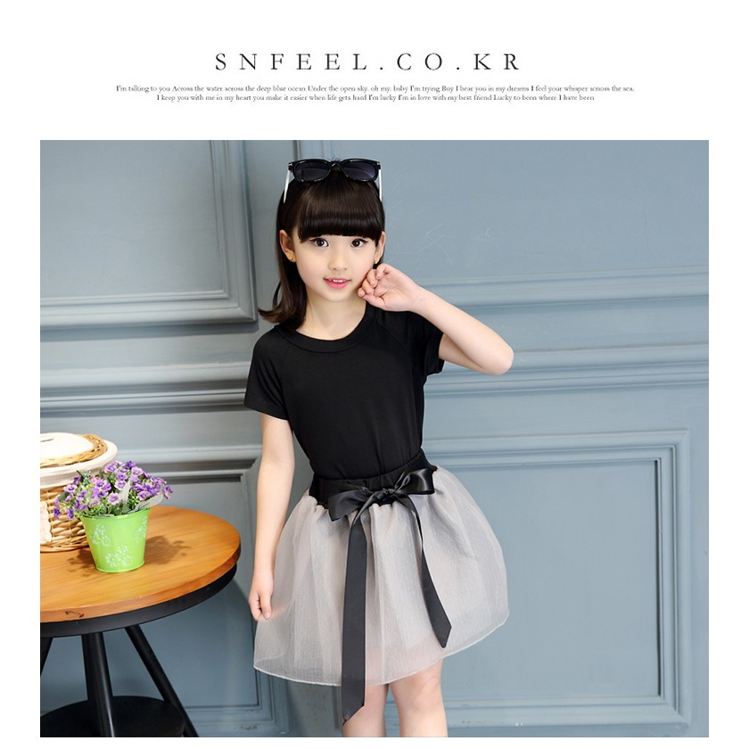 套裝 兒童純棉短袖T 恤公主網紗裙兩件套裝