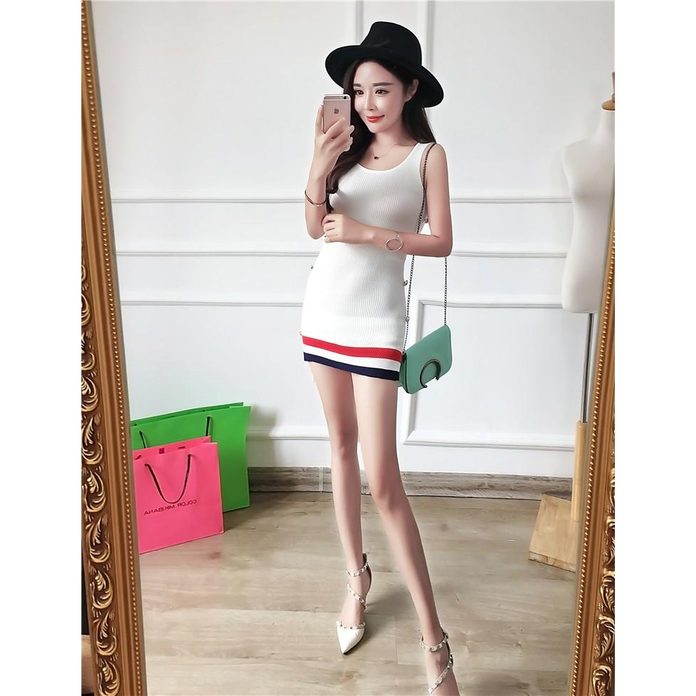 休閒款 網球甜心側面扣子裝飾不規則線條條紋無袖修身合身貼身針織包臀連身裙長版背心背心裙短裙