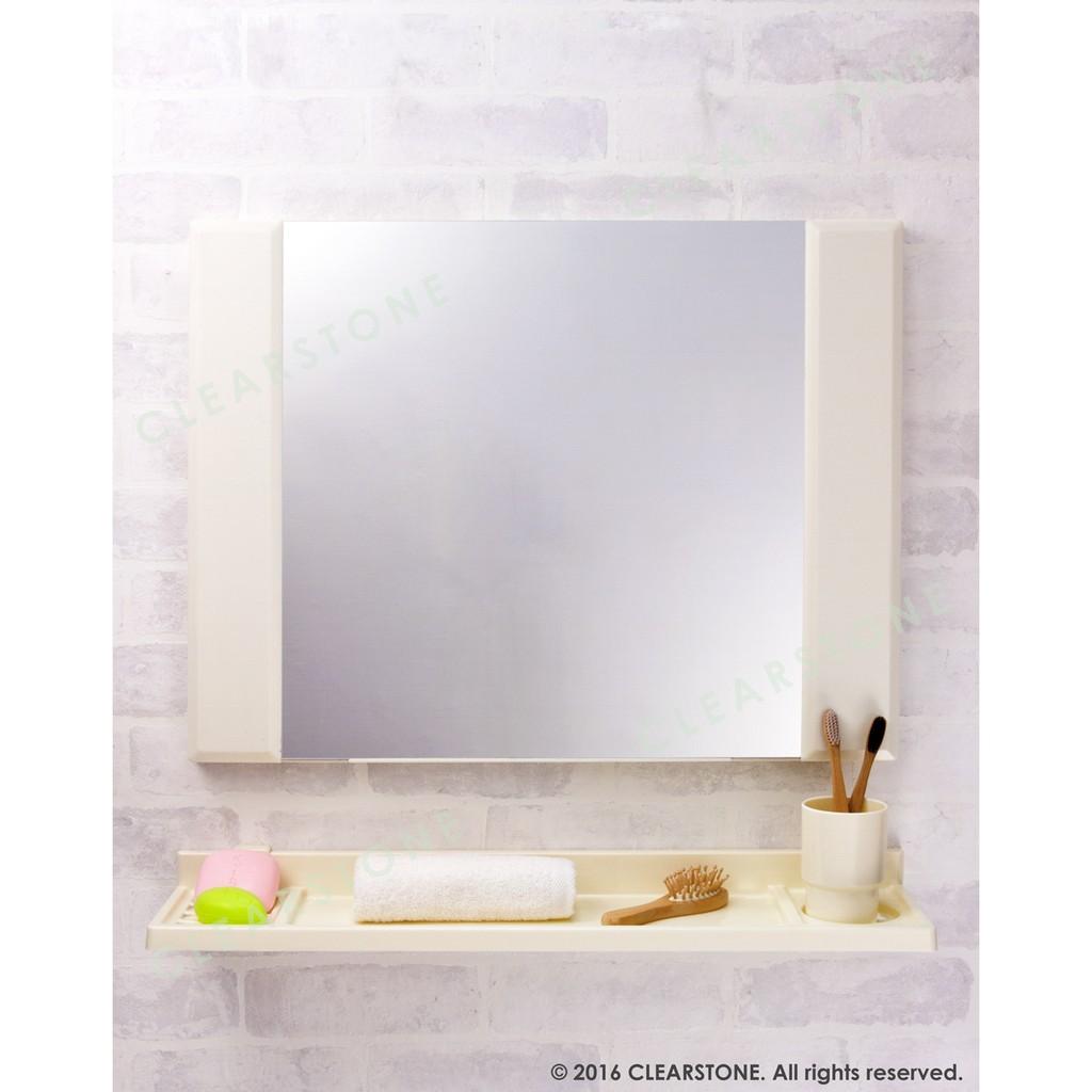 YM 106 60 45cm 象牙色棗紅色無除霧鏡衛浴鏡化妝鏡塑膠框 附塑膠平台