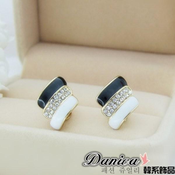 夾式耳環 韓國 氣質潮風幾何黑白線條水鑽K90150 價Danica 韓系飾品韓國連線