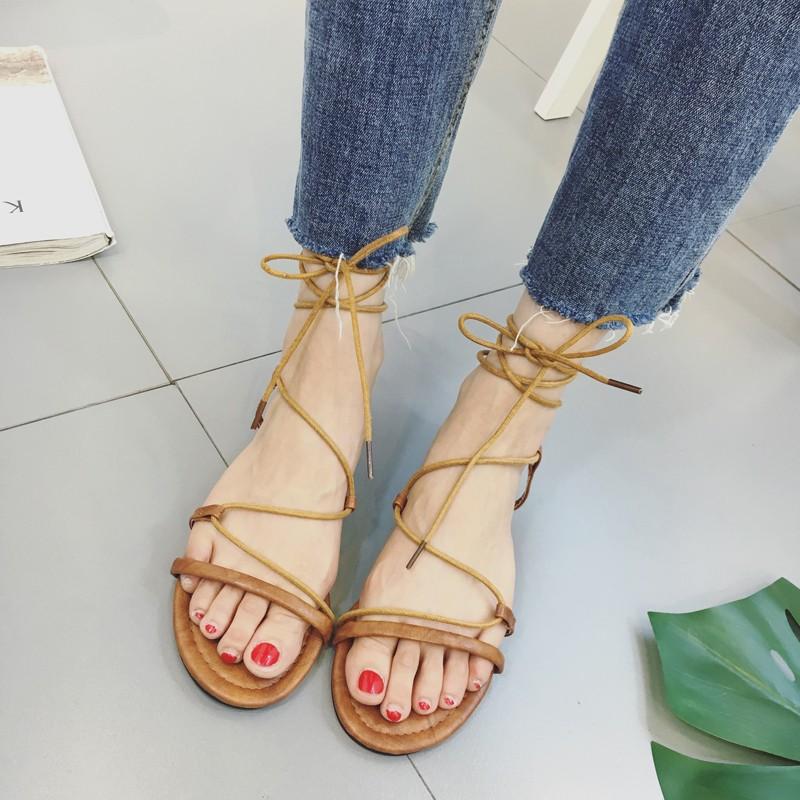 涼鞋隨意腳環綁帶女式低跟羅馬風格平底涼鞋女