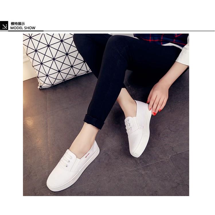 16 春夏 樂福帆布鞋女鞋 小白鞋板鞋厚底懶人鞋女平底學生鞋