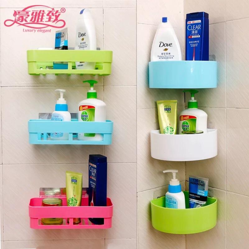 衛生間置物架壁掛浴室化妝品收納置物架吸盤三角廁所免打孔洗手間
