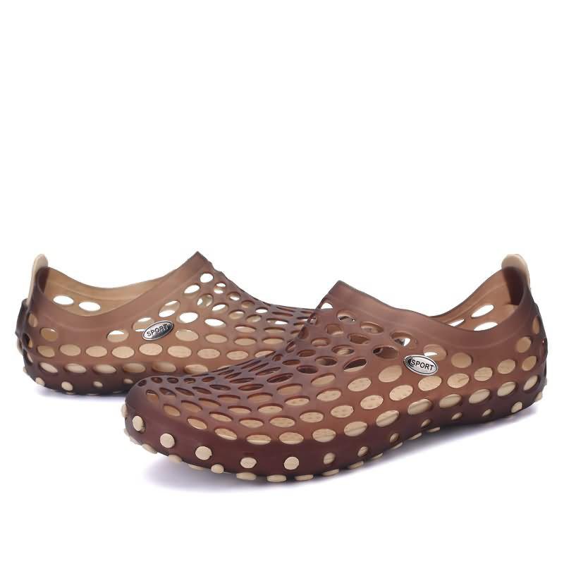 男士洞洞鞋沙灘涼鞋拖鞋,棕色商務休閒真皮英倫系帶軟底防臭潮鞋 日常鞋