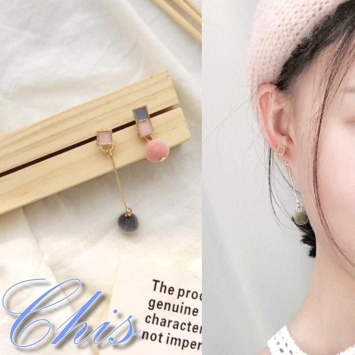 Chis Store ~粉嫩感配色毛球耳環~韓國夏日馬卡龍甜美長短不規則方塊垂墜耳環無耳洞