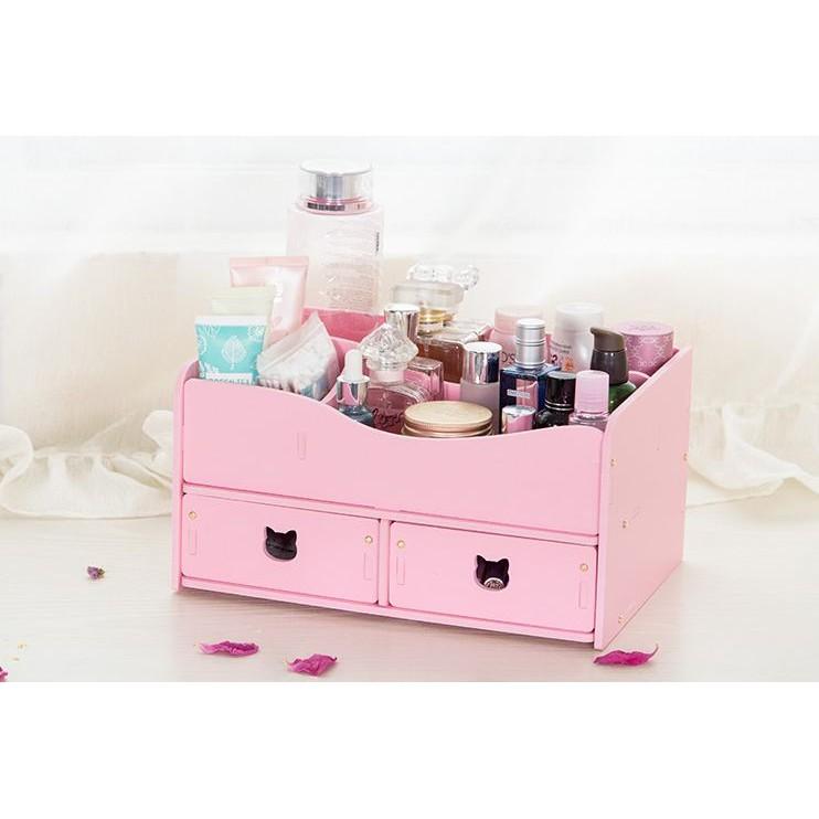 DIY 組裝化妝盒收納盒雙層雙抽屜桌面收納盒防水防霉耐用環保高密度pvc 板材