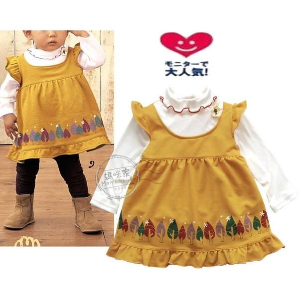 媽咪家~AG072 ~AG72 小樹折領洋裝中厚綿細毛圈肩扣高腰傘狀假2 件娃娃裝
