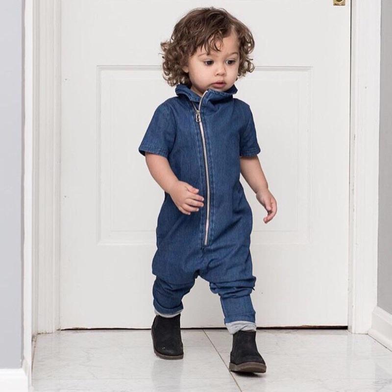 曈曈Baby 外貿 春 男童 牛仔連體衣超軟牛仔