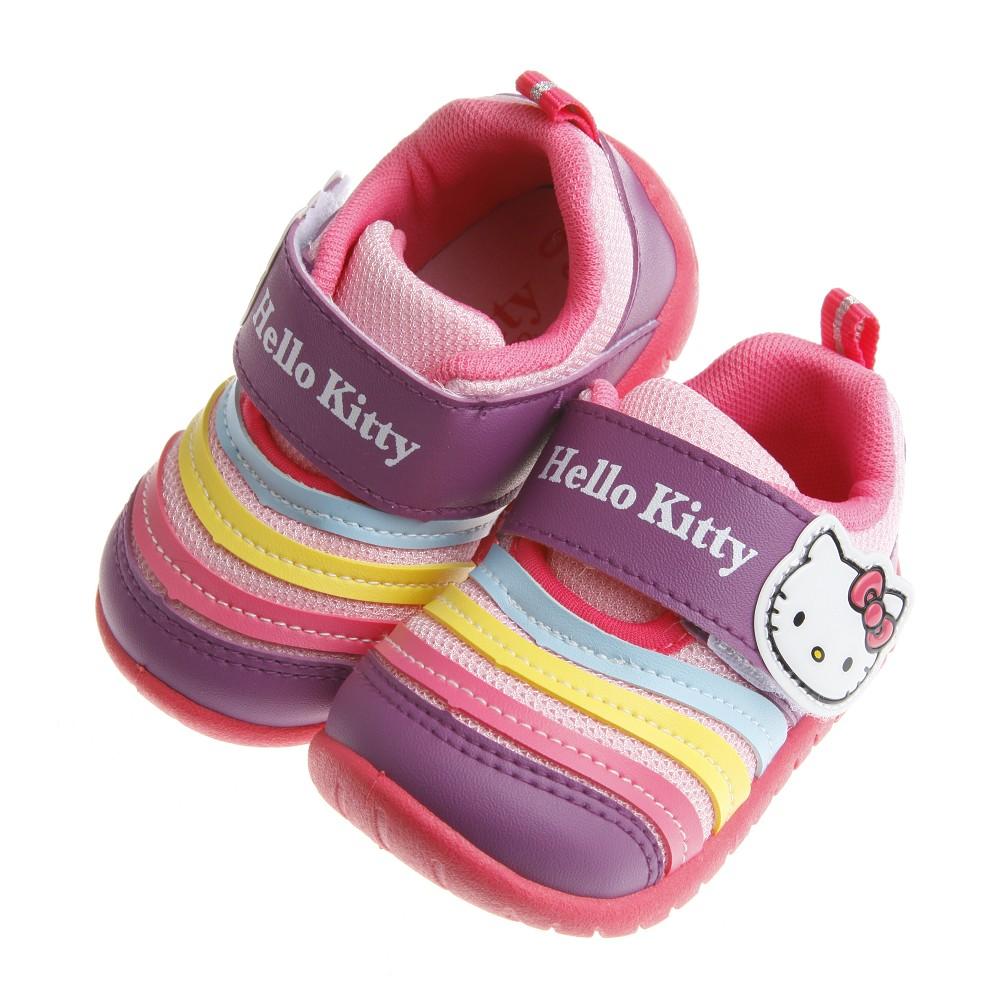 童鞋M ~HelloKitty 凱蒂貓紫粉色透氣毛毛蟲休閒鞋13 18 公分CDU312F