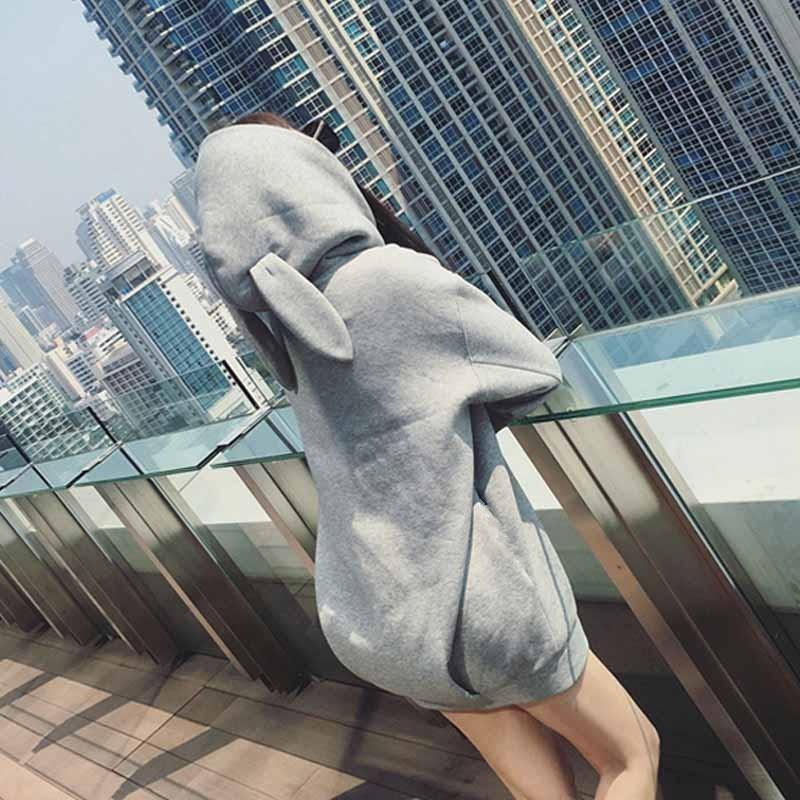 ~那件衣服~ 薄款中長款連帽套頭衛衣女純色可愛寬鬆衛衣外套閨蜜裝