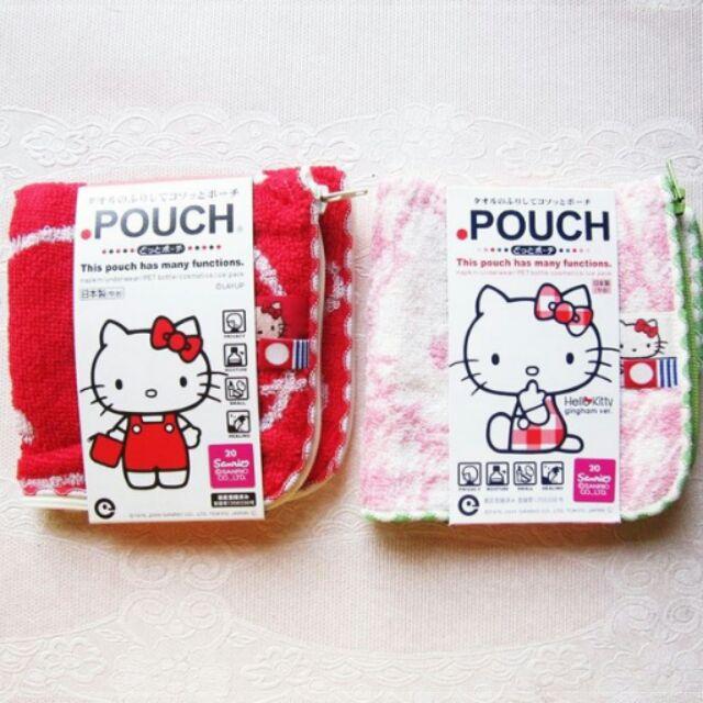 kitty  三麗鷗pouch 萬用毛巾袋紅色