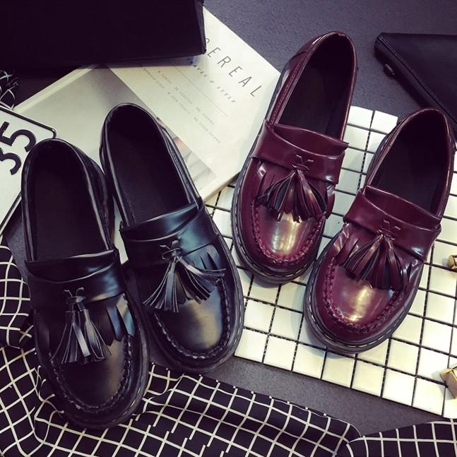 英倫風~ 復古皮鞋流蘇圓頭厚底鞋