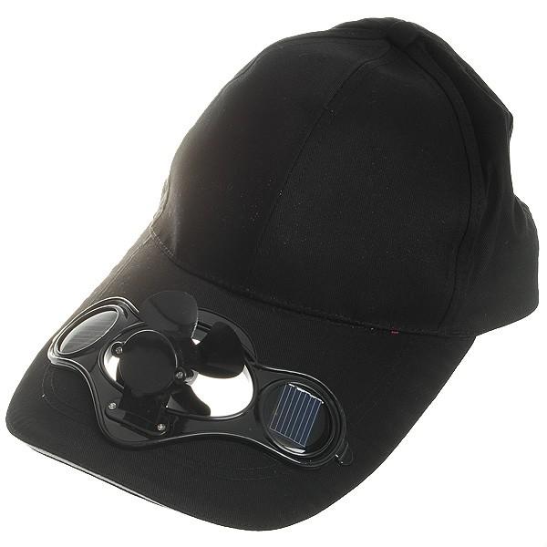 太陽能風扇棒球帽黑色