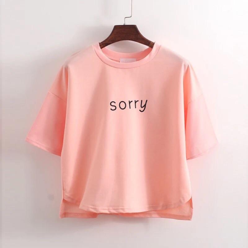 sorry 字母短款印花短袖T 恤上衣女
