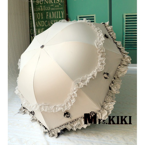 Mrs kiki ♡最後 ♡公主系蘿莉風超強防曬黑膠遮陽傘立體蕾絲花邊太陽傘~QB100