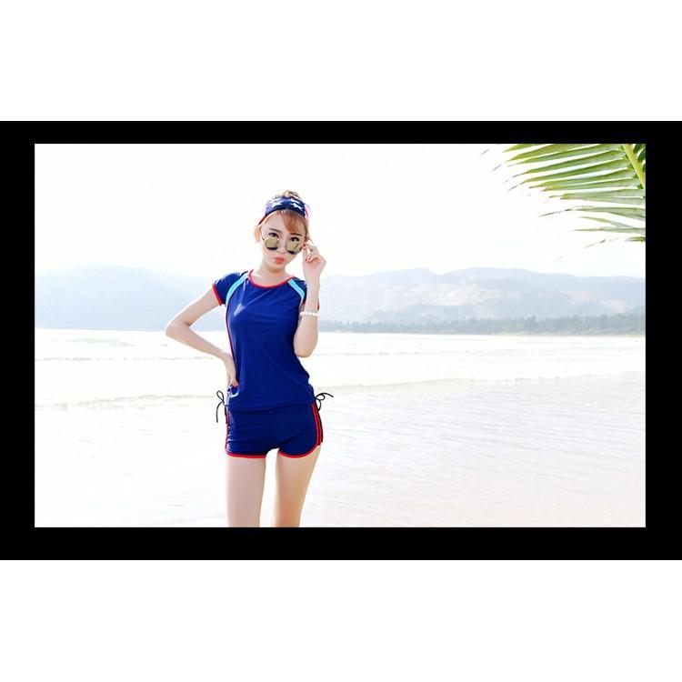 游泳衣女士分體平角 款學生泳衣遮肚顯瘦保守大碼溫泉女生泳裝