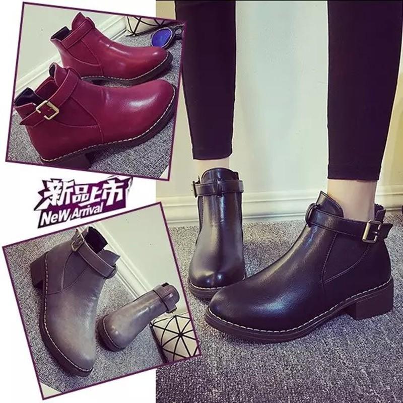 ☞☞❤ 匯❤☜☜ 短靴❤ 平底春秋靴子短靴女單靴英倫風復古皮帶扣粗跟裸靴馬丁靴靴子裸靴高