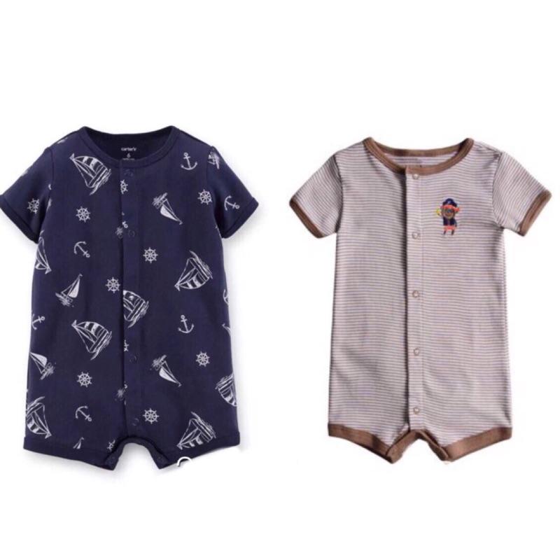 美國卡特短袖 春夏男寶寶前釦哈衣連身衣兔裝男童幼童兒童包屁衣連身裝