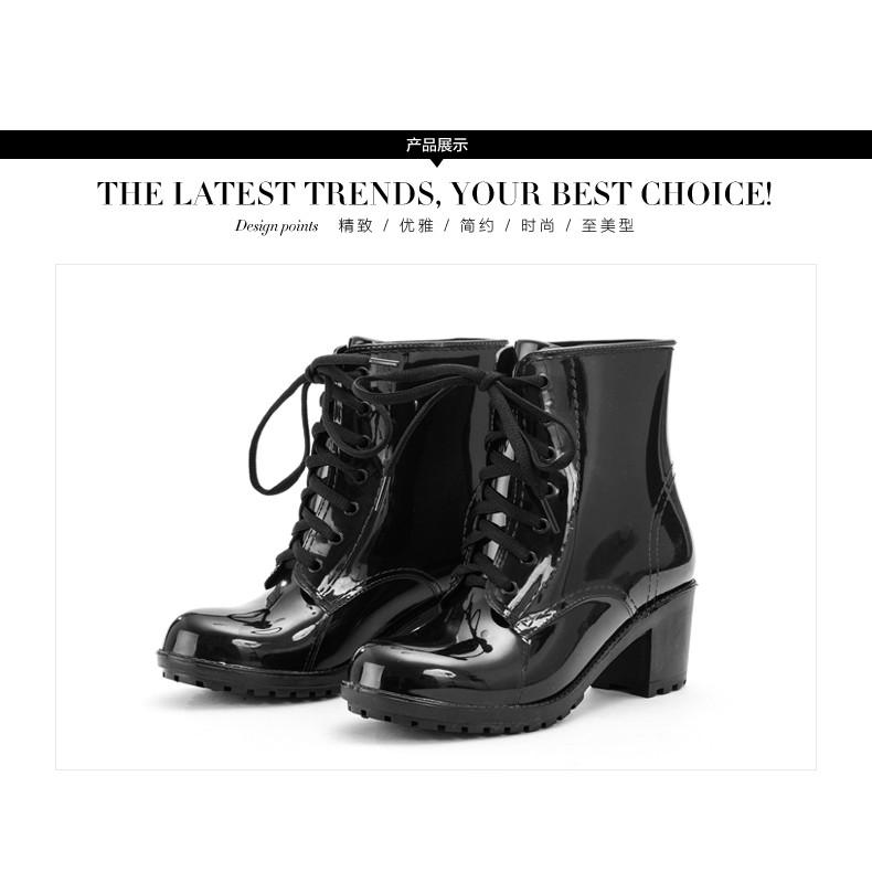 果凍雨鞋女 高跟馬丁雨靴防滑水鞋系帶膠鞋a1a7