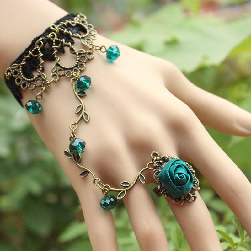 復古洛麗塔氣質韓國簡約 蕾絲手鍊戒指一體手飾品