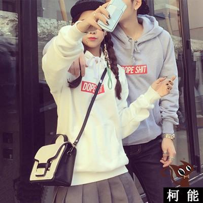 帽t ~6348 ~情侶裝 素面BF 抽繩刷毛T 學院風加絨加厚連帽大學T 恤寬鬆套頭衛衣