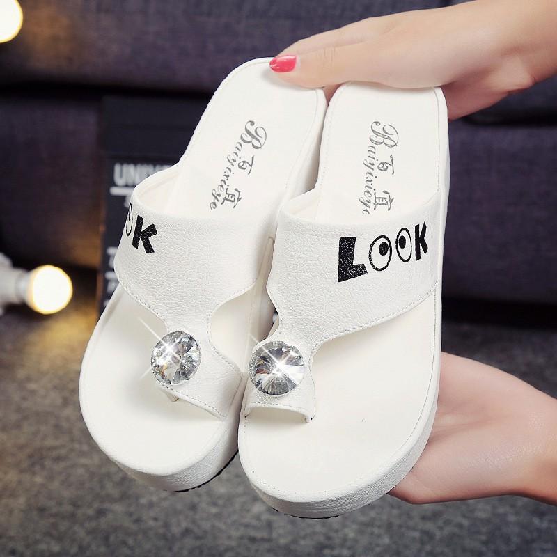 涼鞋厚底鬆糕涼拖鞋 圓頭防水台拖鞋字母女式套趾涼拖